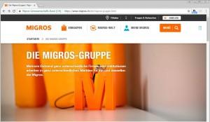 Screenshot Migros Gruppe