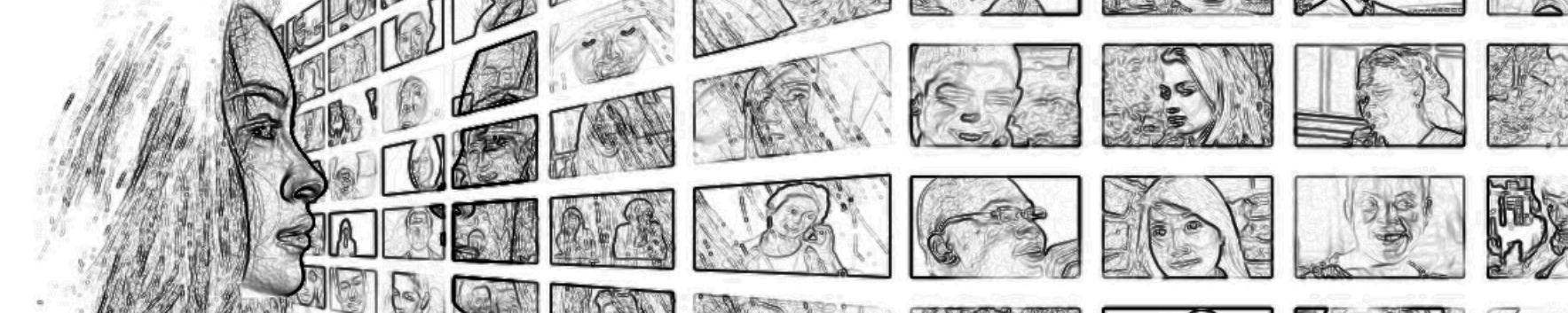 Wand mit Gesichtern. Soziale Netzwerke.