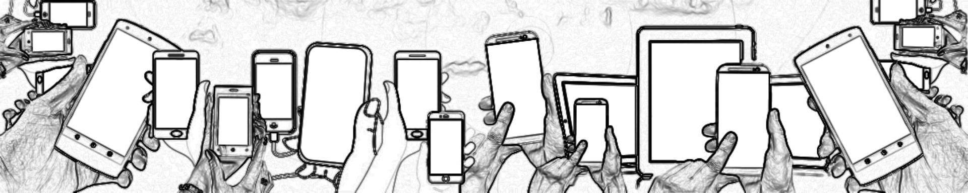 Hände mit Smartphones