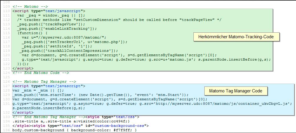 Matomo HTML Snippets für Tag Manager und herkömmliches Tracking