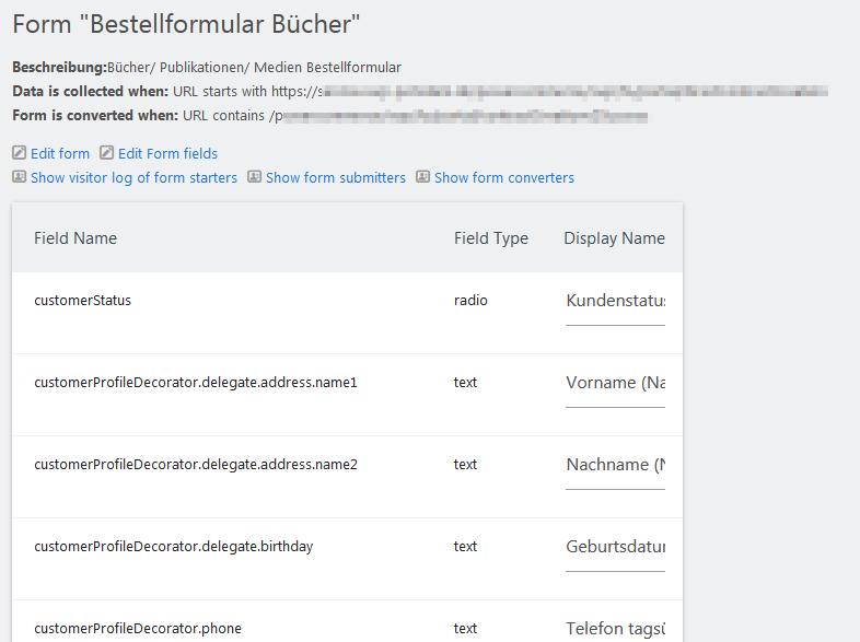 Screenshot Matomo Form Plugin